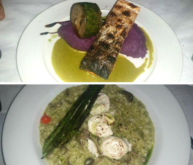 O prato de cima é o salmão da Mamis, o de baixo é meu risoto e do meu pai não deu tempo nem de tirar foto porque ele já foi devorando, hahaha...