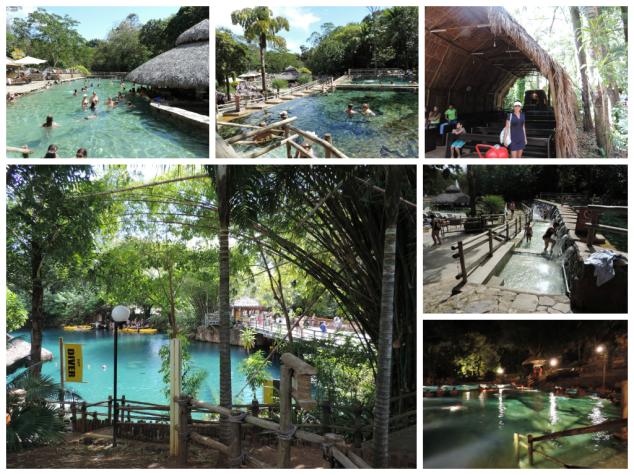 Nessa foto dá para ver o parque das fontes com as piscinas naturais e o rio que fazem mergulhos, caiaque e tirolesa.