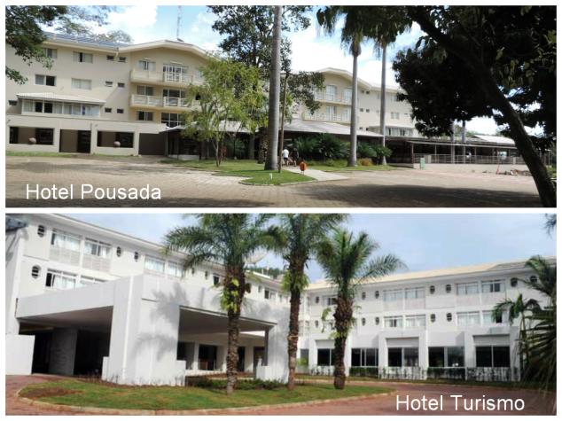 Na foto de cima o hotel Pousada e de baixo o hotel Turismo.