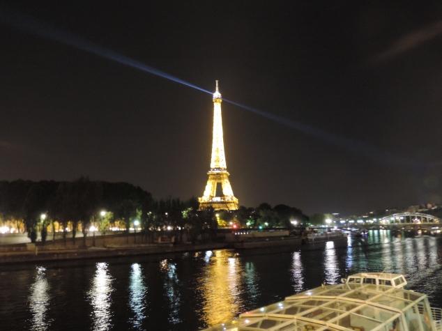 A torre Eiffel fica toda iluminada a noite e a cada hora ela pisca todinha, é muito lindo e super romântico