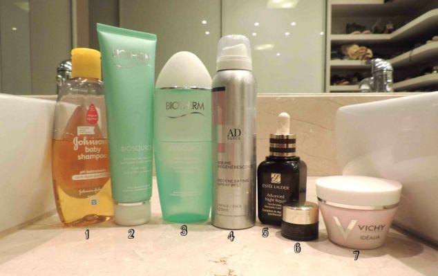 Todos os produtos que uso na minha rotina noturna.