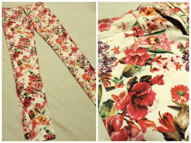 Calça cigarrete com estampa floral, que fica lindo com camisa jeans! R$ 89,90.